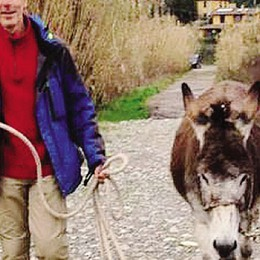 A piedi con due asini verso la Svezia  Una tappa sull'Adda prima del confine