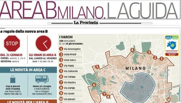 """Milano, debutta l'Area B  Venerdì con """"La Provincia""""  una guida di 4 pagine"""