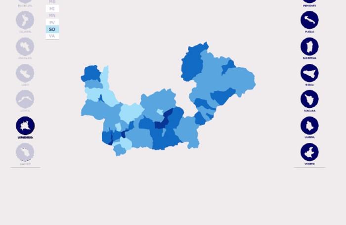 Reddito pro capite degli italiani nel 2017. I redditi più alti nelle zone con la tonalità più scura