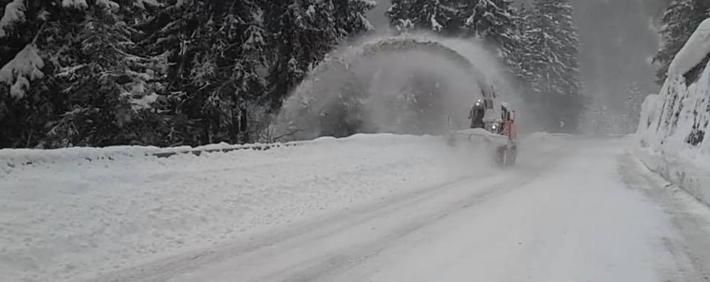 Chiusa di notte per la nevicata la statale del Foscagno