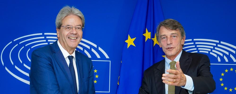 Ue: Sassoli incontra Gentiloni a Bruxelles