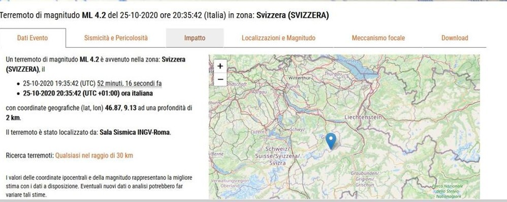 Terremoto in Svizzera  La scossa avvertita  anche in Valtellina