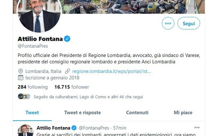 Il tweet del governatore Fontana