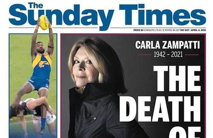 Morte della stilista e imprenditrice Carla Zampatti, originaria di Lovero, la prima pagina del Sunday Times