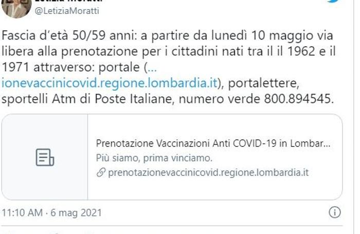 Il tweet di Letizia Moratti